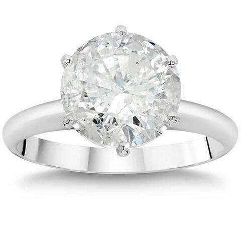 3ct Enhanced Round Diamond Solitaire Engagement Ring 14K White Gold