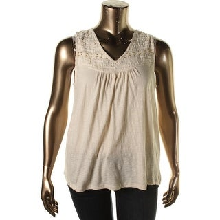Lucky Brand Womens Beaded Bib Sleeveless Pullover Top