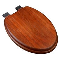 Decorative Wood Elongated Toilet Seat with Chrome Hinges,