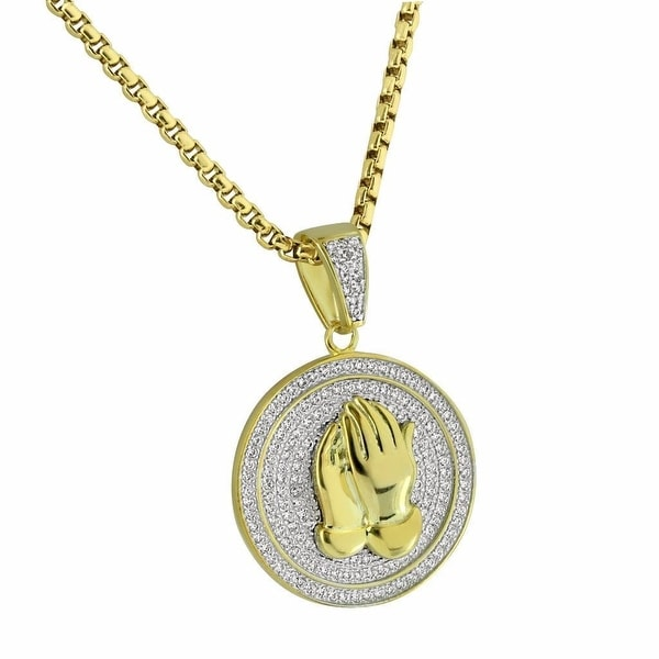 """Praying Hands Pendant Iced Out Micro Pave Gold Tone Stainless Steel Chain 24"""""""
