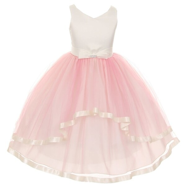 be1565e5faa5 Shop Little Girls Pink V-neck Satin Bow 3 Layer Tulle Flower Girl Dress 2-6  - Free Shipping Today - Overstock - 18161868