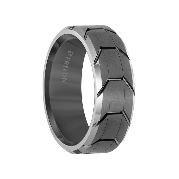 Grey Tungsten Men X27 S Wedding Ring With Grooved Tire Tread Pattern