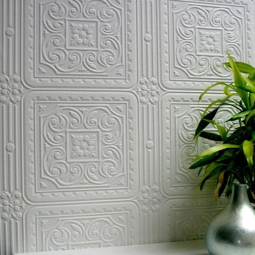Brewster 437-RD80000 Turner Tile Paintable Textured Vinyl Wallpaper