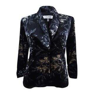 Kasper Women's Petite Velvet Floral-Print Blazer - Black Multi