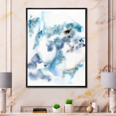 Designart 'Abstract of Dark Blue Clouds IV' Modern Framed Canvas Wall Art Print