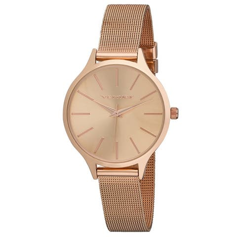 4 Colors Available- Vernier Womens Round Case Long Index Mesh Strap Watch