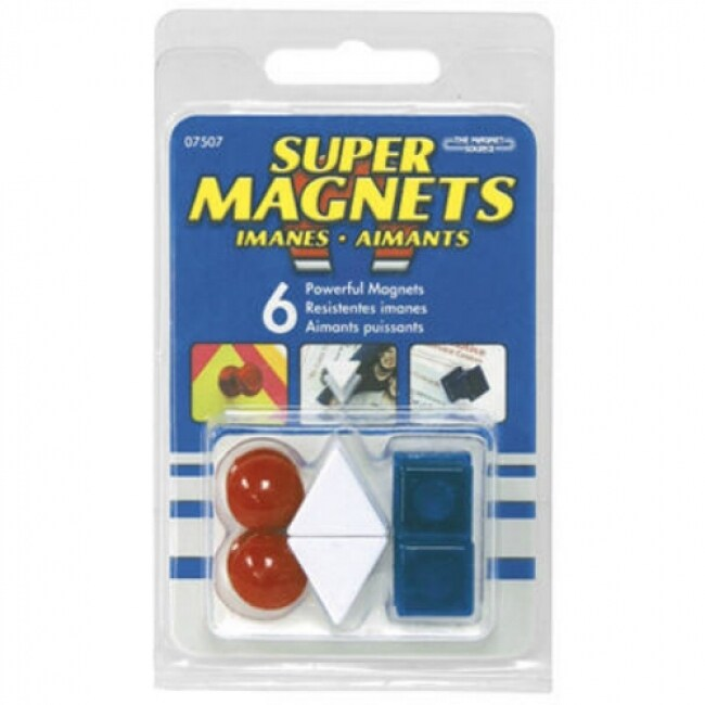 Master Magnetics 07507 Super Magnetic Push Pins, Red, White & Blue, 6-Count
