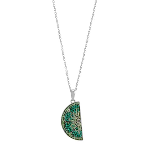 Lime Slice Pendant with Crystals in Sterling Silver, 18 Inches - Green