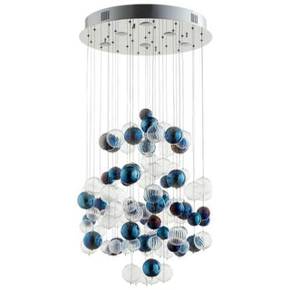 "Cyan Design 8856 Champagne Circus 24"" Wide Chandelier with Blue and Clear Glass Bubbles"