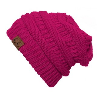Trendy Warm CC Chunky Soft Stretch Cable Knit Soft Beanie Skully, Hot Pink