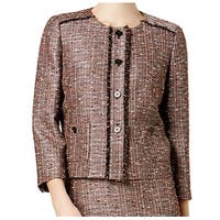 Nine West Copper Brown Womens Size 8 Tweed Fringed-Trim Jacket
