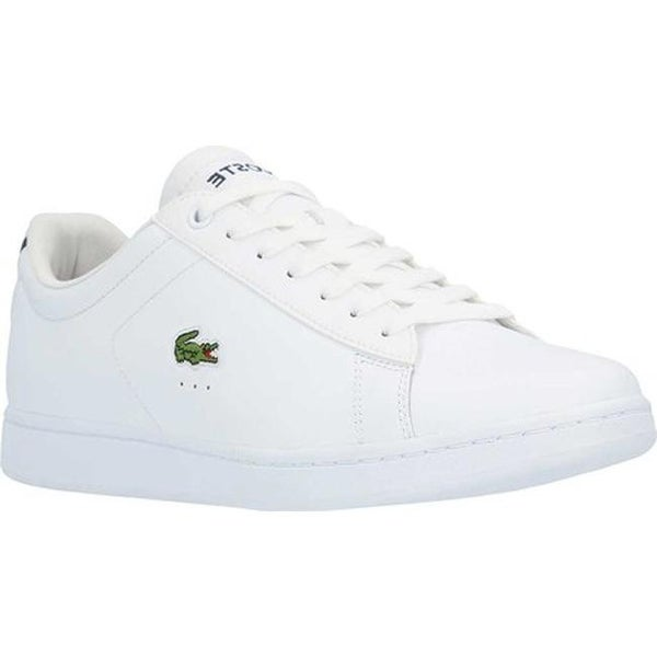 61eadff9038a81 Lacoste Men  x27 s Carnaby EVO Leather Sneaker White Leather Synthetic