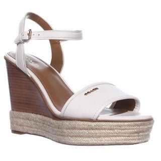 Coach Elda Wedge Ankle Strap Espadrille Wedge Sandals - Chalk