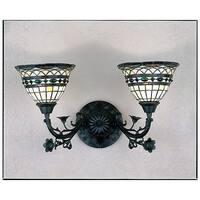 "Meyda Tiffany 27394 Tiffany Roman 2-Light 21"" Wide Bathroom Vanity Light with Tiffany Glass Shade - tiffany glass"