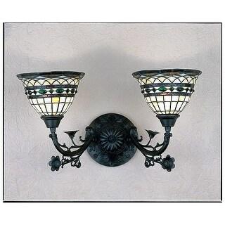"Meyda Tiffany 27394 Tiffany Roman 2-Light 21"" Wide Bathroom Vanity Light with Tiffany Glass Shade - tiffany glass - n/a"