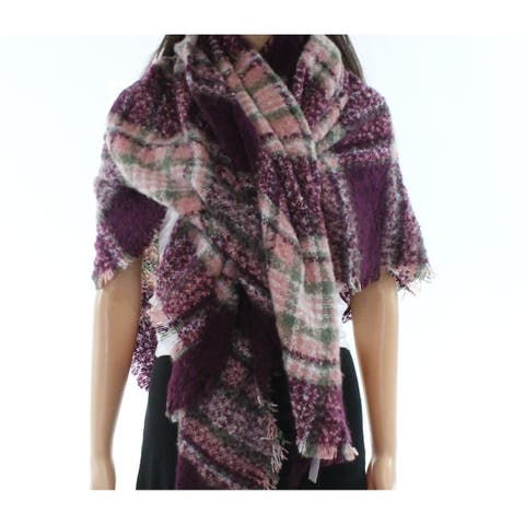 David & Young Womens Deep Purple One Size Plaid-Printed Square Scarf 087