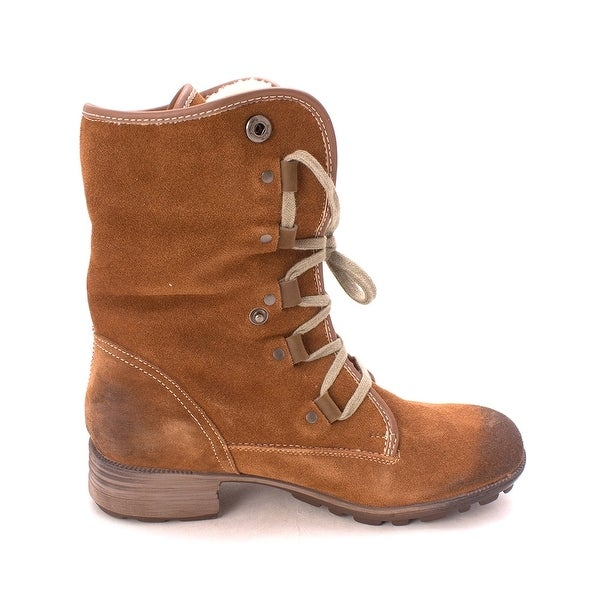 Wanderlust Womens Rita Leather Round Toe Mid-Calf Cold Weather Boots