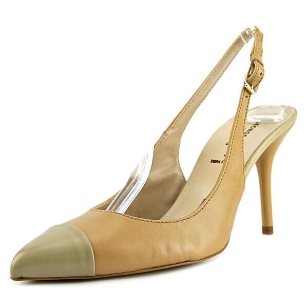 George J. Love 254602 Women Pointed Toe Leather Tan Slingback Heel