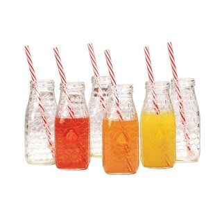 Palais Glassware Milk Bottles with Red & White Swirl Straws Set of 6 Honey Bee Design, 10 Ounce