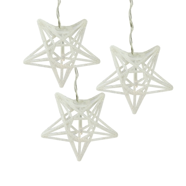 Set of 10 Battery Operated Sparkling White Glittered Star Clear Christmas Lights - Silver Wire