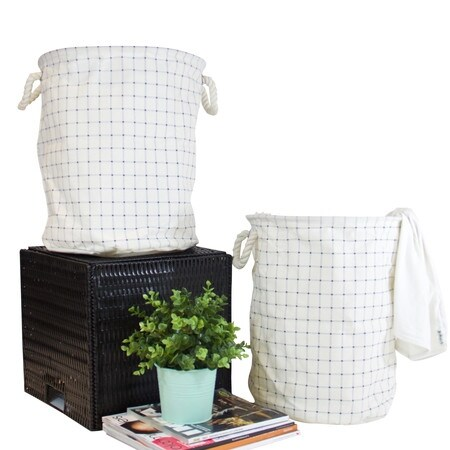 G Home Collection Blue Grid Pattern Fabric Laundry Basket With Handles (Set of 2)