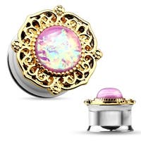 Gold Tribal Plate Pink Faux Opal Surgical Steel Double Flared Tunnel (Sold Individually)