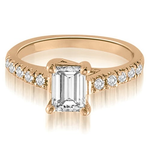 0.95 cttw. 14K Rose Gold Petite Emerald And Round Cut Diamond Engagement Ring