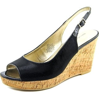 Bandolino Avito Open Toe Canvas Wedge Heel