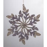 "5.5"" Victorian Plum Gold and Purple Berry Snowfake Christmas Ornament - multi"