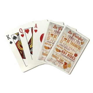 Be Grateful - Rustic Thanksgiving Typography - Lantern Press Artwork (Poker Playing Cards Deck)