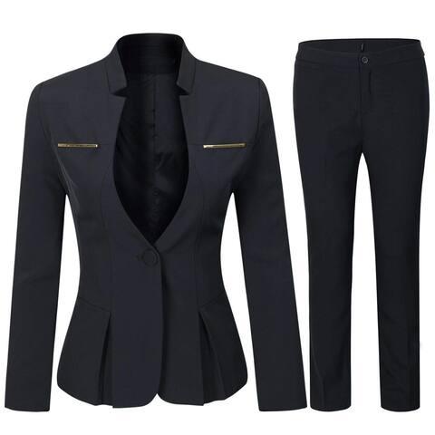 Women's Elegant Business Two Piece Office Lady Suit, Suit Set-black, Size Large