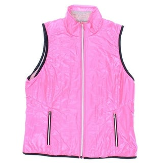 Lauren Active Womens Contrast Trim Zip Front Outerwear Vest - S