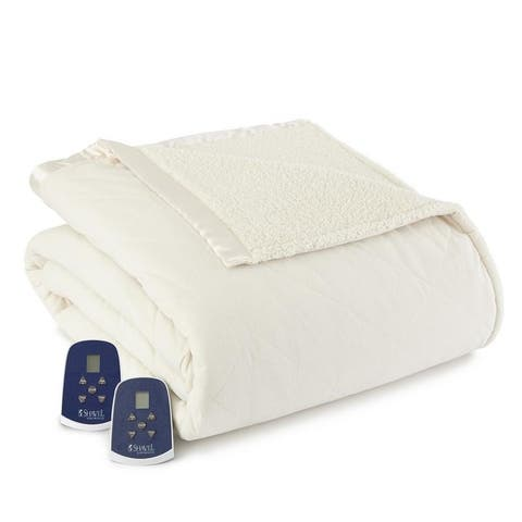 Shavel Quilted Micro Flannel to Sherpa 6-Layer Heated Electric Blanket