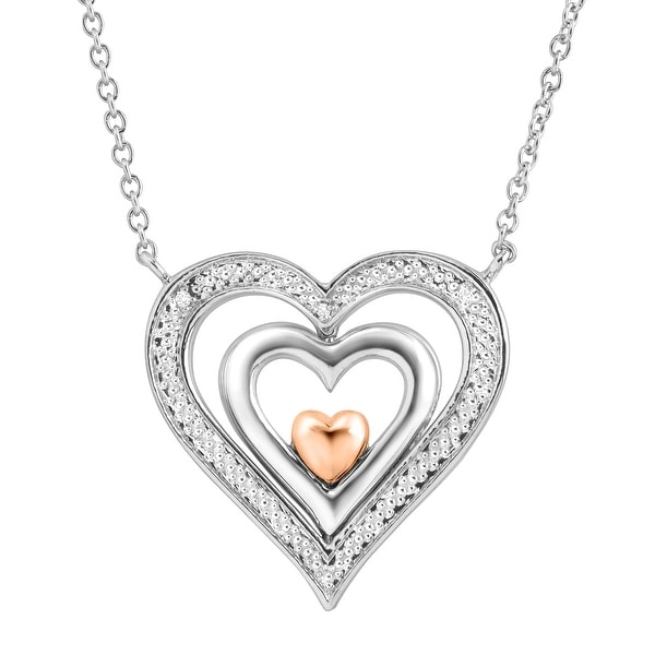 Spinner Heart Pendant with Diamonds in Sterling Silver & 14K Rose Gold