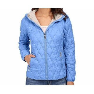 MICHAEL KORS Light Blue Diamod Quilted Hooded Down Quilted Packable Coat Jacket