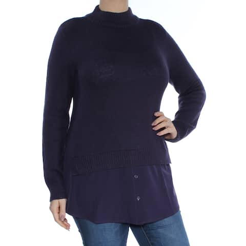 STYLE & CO Womens Purple Long Sleeve Turtle Neck Sweater Plus Size: L