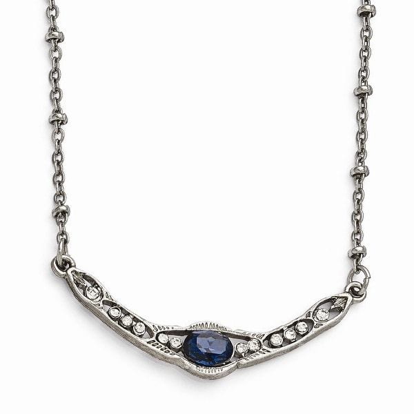 Silvertone Blue & Clear Glass Necklace - 16in