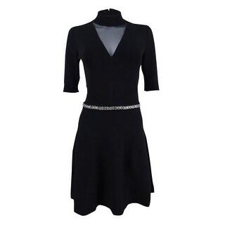 Rachel Roy Women's Embellished-Waist Sweater Dress (L, Black) - Black - L