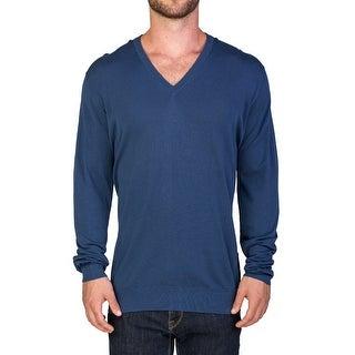 Prada Men's Cotton V-Neck Sweater Blue