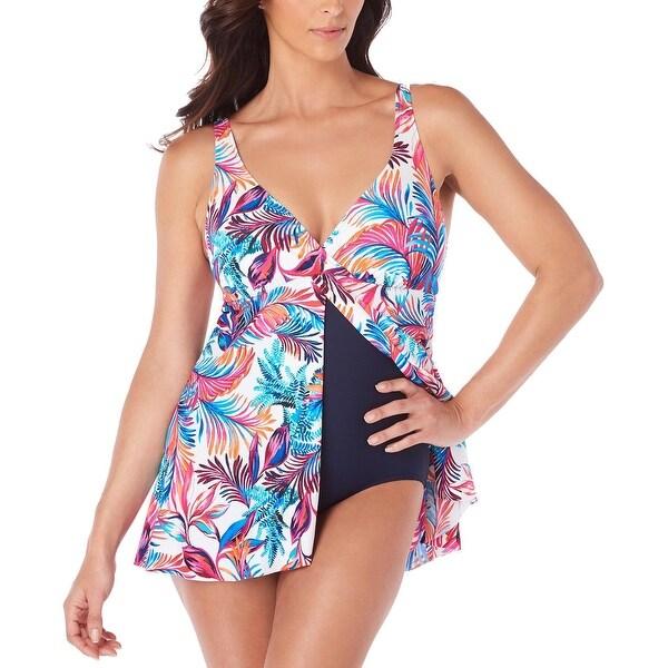 f3a24a247ba6c2 Swim Solutions Womens Sienna Printed Flyaway Tummy Control Swimdress 8 Multi