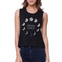 Moon Child Womens Halloween Crop Top Cute Graphic Cropped Shirt
