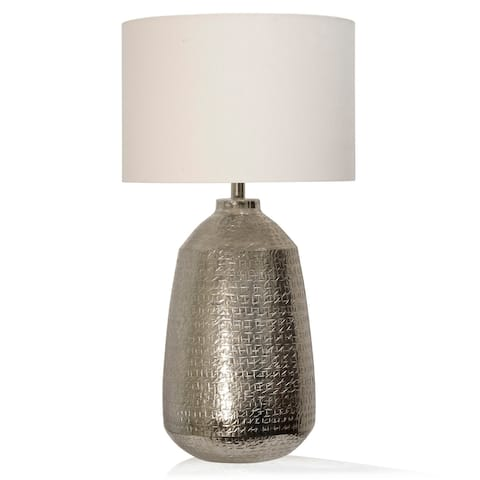 StyleCraft Metal Textured Table Lamp with Off-White Linen