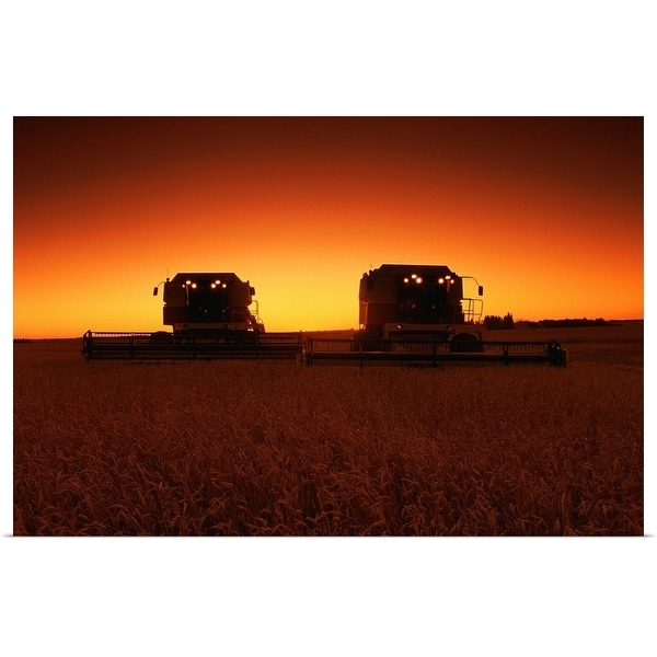 """""""Combines harvesting crop at sunset"""" Poster Print"""