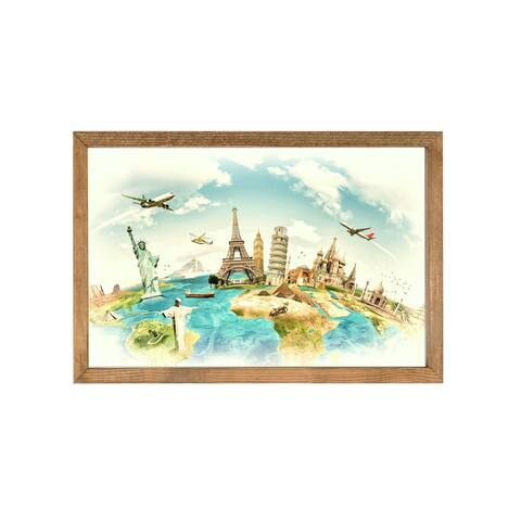 Vintage World Map Wood Framed Art Print