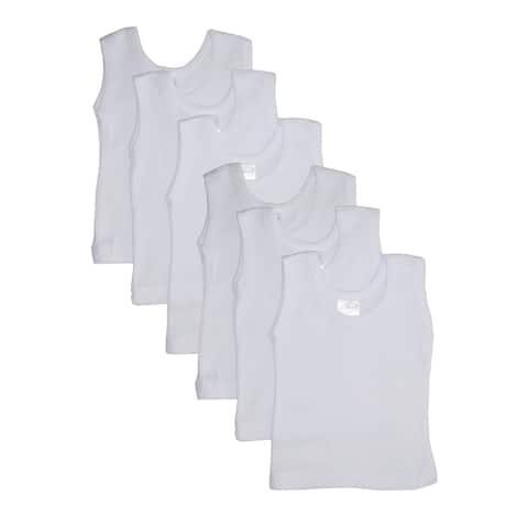 Bambini Baby White Rib Knit Sleeveless Tank Top Shirt 6 Pack