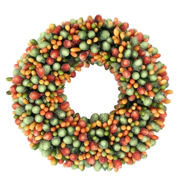 """6.5"""" Green and Orange Fall Autumn/Thanksgiving Berry Candle Ring - N/A"""