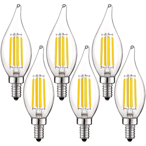 Luxrite 5W Vintage E12 LED Bulb 60W Equivalent, 550 Lumens, Dimmable Candelabra LED Bulbs, Clear Glass (6 Pack). Opens flyout.