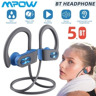 Link to Mpow Flame Bluetooth Headphones V5.0 IPX7 Waterproof Wireless Headset, cVc6.0 Noise Cancelling Mic for Home Workout, Multicolors Similar Items in Headphones
