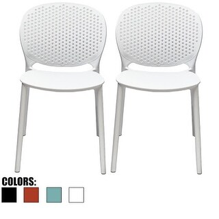 2xhome Set of Two (2) Outdoor Indoor Designer Home Plastic Armless Dining Pool Chair With Matte Finish