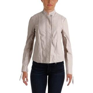 Free People Womens Wool Blend Faux Leather Jacket